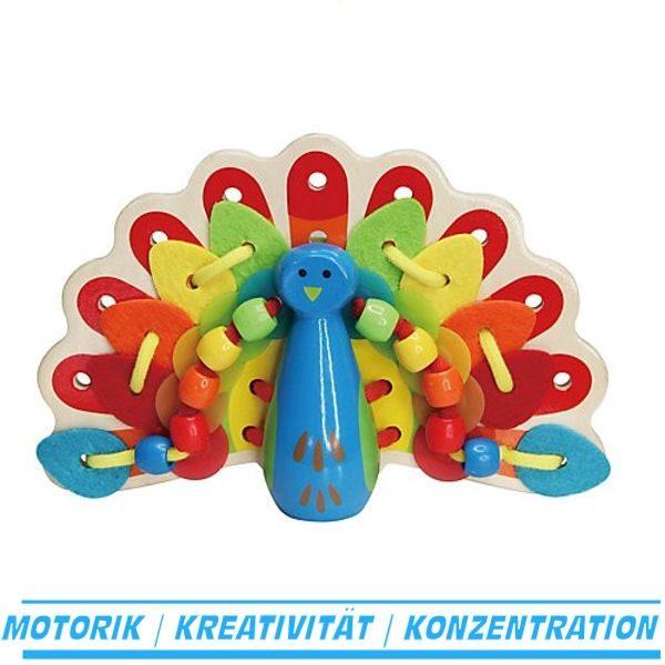 Fädelspiel Pfau, Babyspielzeug - Hape E1017 - Inhalt