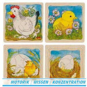 Schichtenpuzzle Das Huhn - Goki 57521 - Für Kinder ab 3 Jahre