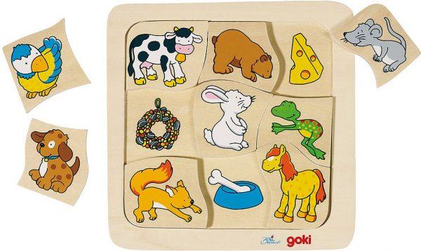 Legespiel Wer frisst was? - Goki 56880 - Spielbrett mit Tierpuzzle