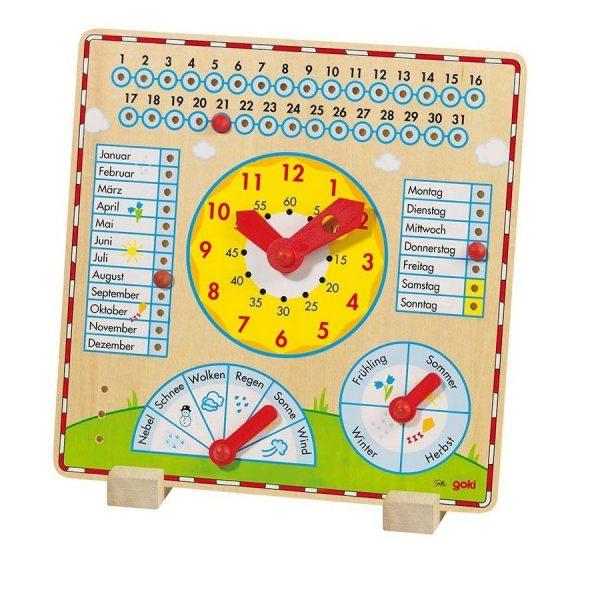 Jahresuhr aus Holz - Goki 58888 - Uhrzeit lernen