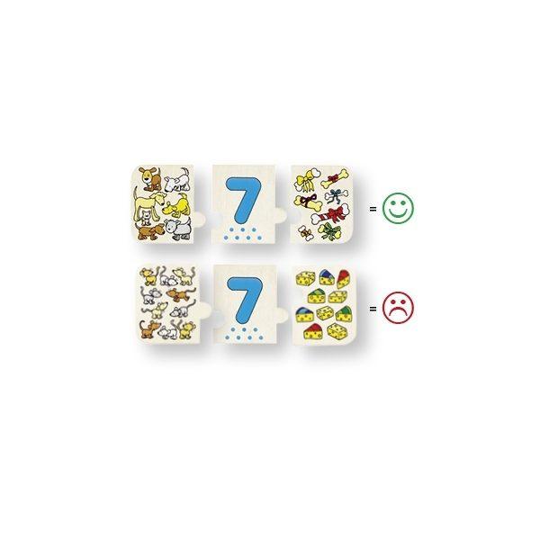 Nur 3 richtig zugeordnete Teile passen aneinander. Goki 57594 - Puzzle