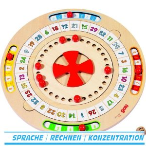 Wortmühle ist ein Buchstaben- und Zahlenspiel für 1 – 4 Spieler ab 6 Jahren - Goki 56739