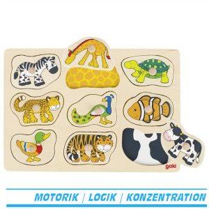 Steckpuzzle Hintergrundpuzzle was gehört zu wem von goki Tiere Tierfell