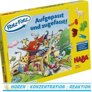 Ratz Fatz Aufgepasst und zugefasst 4566 Lernspiel von Haba ab 3 Jahre