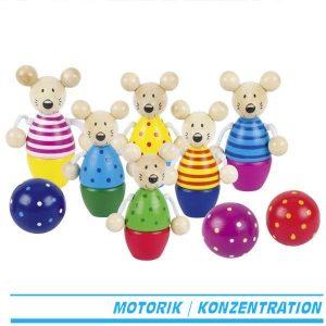 Kegelspiel Speedy - Goki 56943 - Kegel als Mäusemotiv