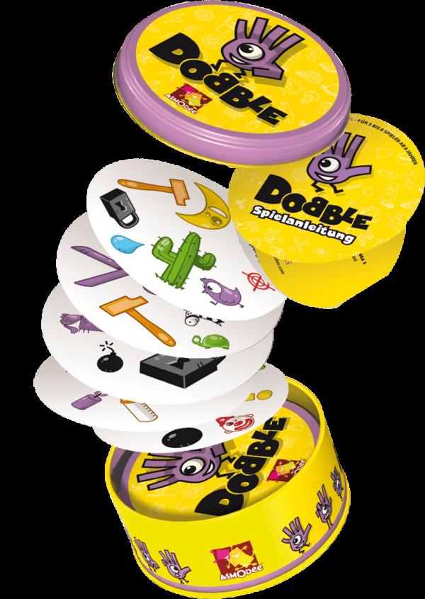 Dobble Spiel kaufen von Asmodee - Legespiel Inhalt in der runden Metalldose