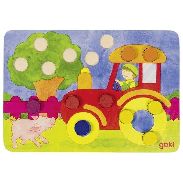 Farbwürfelspiel Goki 56705 - Traktor