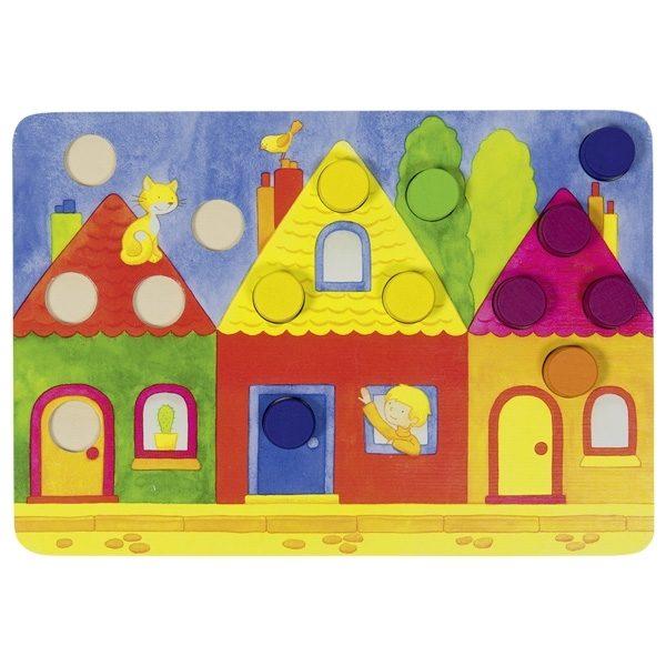 Farbwürfelspiel Goki 56705 - Häuser