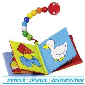 textilbuch goki heimess stoffbuch mit schnullerkette