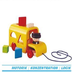 Sortierbus zum ziehen - farbige Holzbausteine