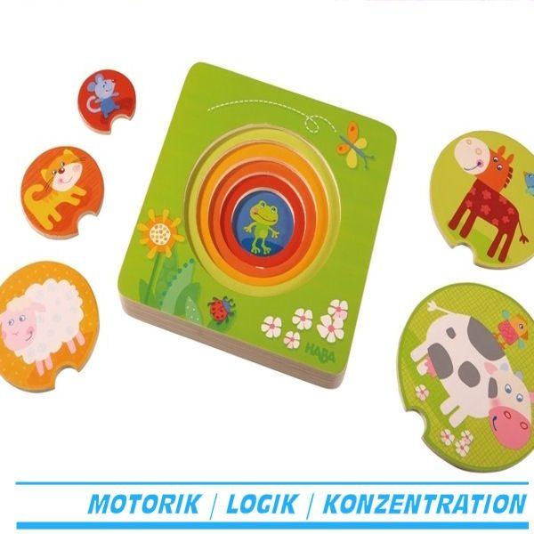 Holzpuzzle Bauernhof freunde lagenpuzzle Holz haba 301647 für kind ab 1 jahr