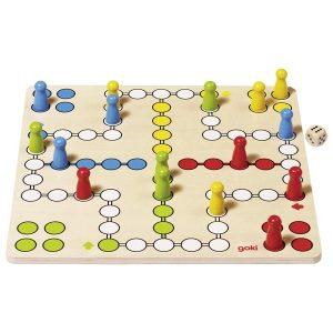 Goki 56710 - Ludo Basic Brettspiel Holz 2-4 Spieler