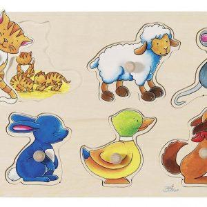 Puzzle, Mutter und Kind, Tiere, Goki, Steckpuzzle