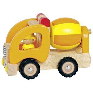 Goki 55926 Holzauto Betonmischer Baufahrzeug Orange
