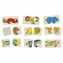 Memospiel und Puzzle lustige Tiere Goki 4013594560375