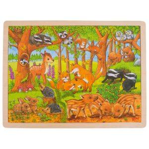 Goki 57734 - Einlegepuzzle Tierkinder im Wald