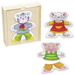 Goki 57833 - Anziehpuppenpuzzle Lustige Tiere im Holzkasten