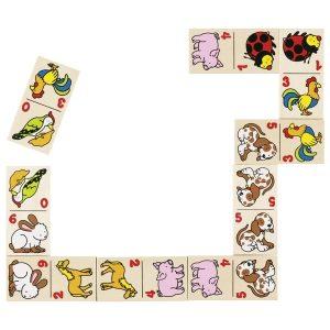 Goki 56961 - Dominospiel Tiermotive im Holzkasten