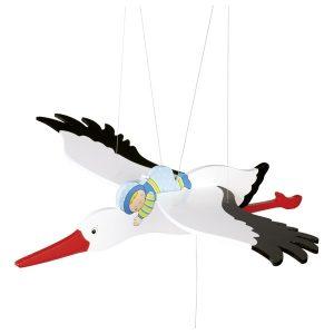 52991 Schwingtier Storch mit Baby blau aus Holz von Goki mit 54 cm Spannweite 4013594529914